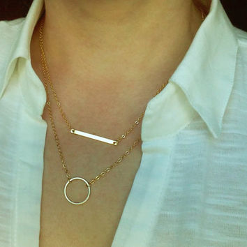 Horizontal Bar Necklace / Sideway Bar Necklace / Dainty Jewelry / Everyday Minimal Jewelry / Layered Necklace / N171