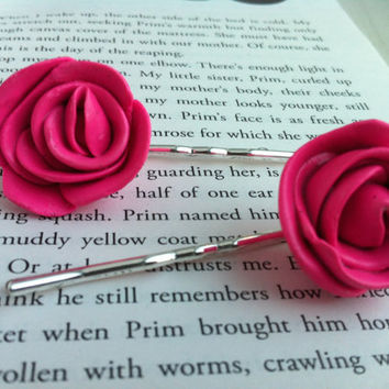 Bubblegum Pink Rose Bobby Pins