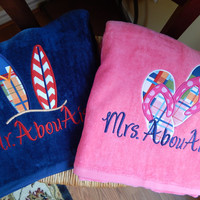 His and Hers Set of 2 Personalized Beach Towels - Mr and Mrs - Honeymoon