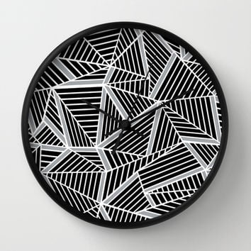 Ab lines Zoom Black and Silver Wall Clock by Project M
