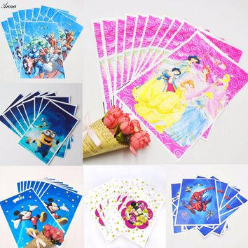 10pcs/set Mickey Minnie Trolls Princess Minions Party Supplie Kid Birthday Decoration Baby Shower Gift Bags Party Supplies Set