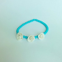 Flower girl bracelet,Turquoise and white color bracelet ,wedding, bridal, gift