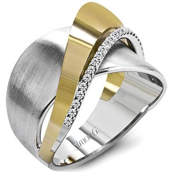 "Simon G. 18k White & Yellow Two-Tone Gold Diamond ""Swish"" Ring"