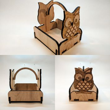 Laser Cut - Wooden Owl Basket