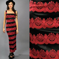 Vtg 1990's BODYCON Satin Lace Striped APPLIQUÉ Red And Black Maxi Dress xs