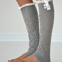 PeekABootSocks Light Gray Darcy Leg Warmers | Something special every day