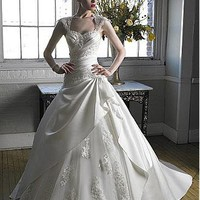 [183.76]    Glamorous Satin & Organza & Tulle A-line Sweetheart Neckline Wedding Dress With Cap Sleeves - Dressilyme.com