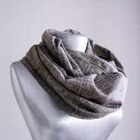 Handmade Tartan Infinity Scarf - Tweed - Creme Brown - Winter Autumn Scarf