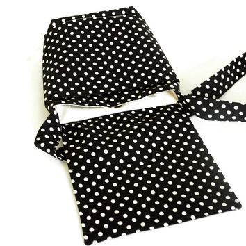 Small Messenger  Black and White Polka Dots with Magnetic Snap