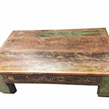 Mogul Antique Coffee Table Low Floor Corbels Wooden Tables, Chai Table
