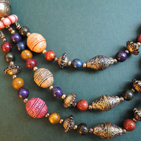 Vintage Ethic, Eastern Influnce Carved Beaded Necklace, 20 inches, 1980s Fashion Jewelry