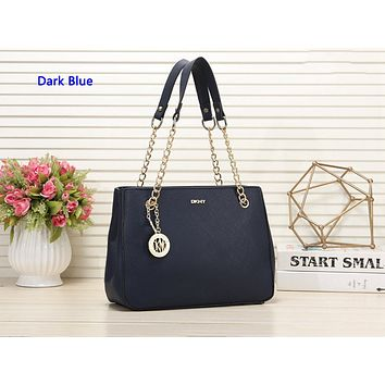 DKNY hot seller of stylish one-shoulder shopping bag in solid color for ladies Dark Blue