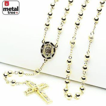 "Jewelry Kay style Men's 6mm Bead Rosary Gold Plated Guadalupe & Jesus Cross 28"" Necklace HR 600 G"