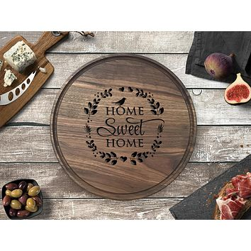 Engraved Round Cutting Board, Walnut Wood - CB12