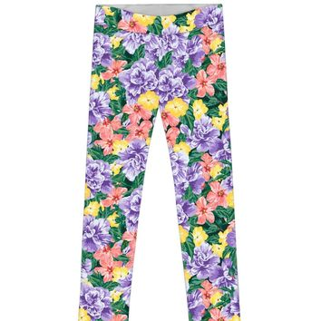 Hello May Lucy Cute Floral Printed Summer Leggings - Girls