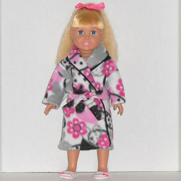 American Girl Doll Clothes Pink & Black Robe with Flowers and Hearts