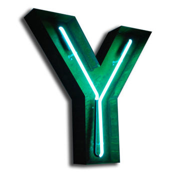 SALE!  Vintage Marquee Lights NEON Letter Y Green