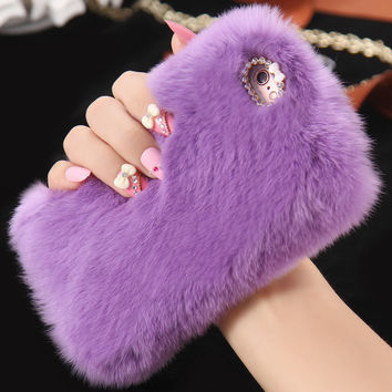5s Rhinestone Bling Diamond Real Rabbit Hair Fur Cover For Apple iPhone5 5S SE Lady Soft Fluffy Warm Shockproof Phone Case Coque