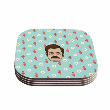 "Juan Paolo ""Give Me All Of The Bacon And Eggs"" Parks and Recreation Coasters (Set of 4) - Outlet Item"