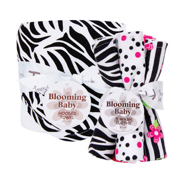 Black And White Zebra - Hooded Towel And Wash Cloth