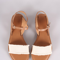 Bamboo Frayed Canvas Ankle Strap Flat Sandal
