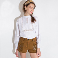 White Cutout Detail  Lace Crochet Puffed Long Sleeves Blouse