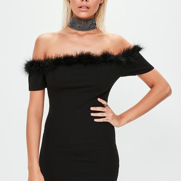 Missguided - Black Crepe Feather Trim Bardot Bodycon Dress