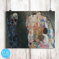 Gustav Klimt Death and Life Art Painting Poster Print Wall Decor Canvas Print - piegabags.com