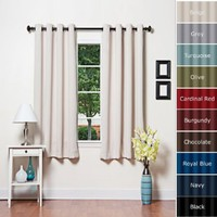 "Best Home Fashion Thermal Insulated Blackout Curtains - Antique Bronze Grommet Top - Beige - 52""W x 63""L - Not Tiebacks - (Set of 2 Panels)"
