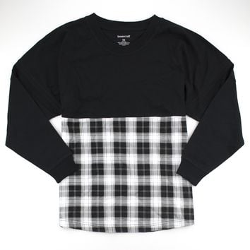 Black and White Plaid Pom Pom Jersey