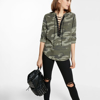 Lace-Up Silky Soft Twill Long-Sleeve Camo Shirt