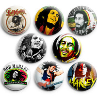 Bob Marley Pinback Buttons Badge (Set of 8) 1.25 inches ,New