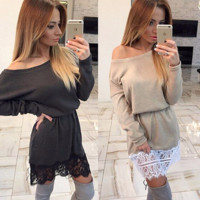Lovely Loose Long Sleeve Lace Casual Dress