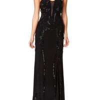 DELTA - Black Embellished Maxi Dress with Sweetheart Neckline