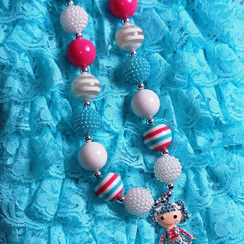 Lalaloopsy Chunky Bubblegum Necklace, Girls doll necklace, Toddler Chunky Necklace, First Birthday, cake smash, photography prop