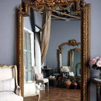 Large Vintage Gilt Gesso Wood Carved Pier Mirror
