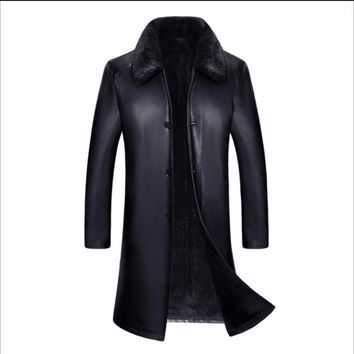 S-4XL Sale Specials New winter middle-aged long PU leather coat windbreaker fur trench men thick coat father plus size overcoat