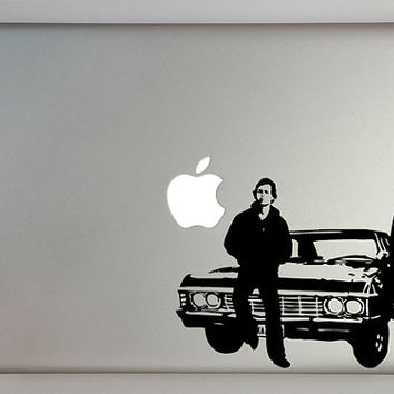 Supernatural Inspired Sam and Dean with Impala Decal Macbook Laptop
