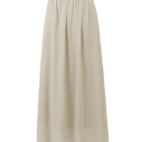 LE3NO Womens Double Layer Chiffon Pleated Floor Length Maxi Skirt with Pockets (CLEARANCE)