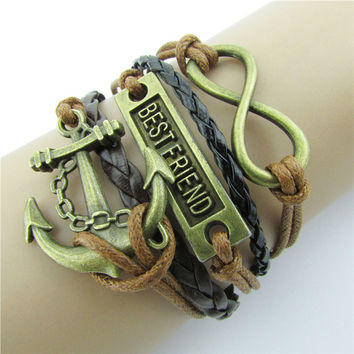 Retro BESTFRIEND Multilayer Woven Bracelet