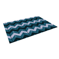"Nick Atkinson ""Chevron Dance Blue"" Indoor / Outdoor Floor Mat"