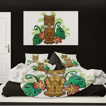 Surfer Bedding Happy Tiki Eco Friendly Beach Duvet Cover