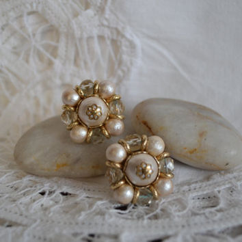 Elegant Beaded Vintage Earrings 1950's and 60's