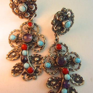 Turquoise Amethyst Coral Sterling Earrings, Taxco Dangle Chandelier, Vintage