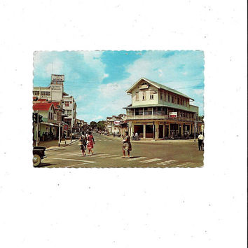 1968 Vintage Suriname Street Color Photo Print Postcard, South America, Posted with 1c, 20c Stamps, Message, Dexter Press, Travel Ephemera
