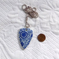 Cobalt Blue Porcelain Pendant Silver Ball Chain Hippie Boho Jewelry Bohemian Choker Gypsy Cowgirl Glam