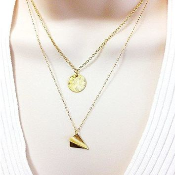 Layered and Long Necklace Textured Disc Origami Airplane Pendant