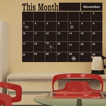Month Planner Blackboard Wall Stickers Office Home Decorations House Decor Living Room Chalkboard Wall Art Decals