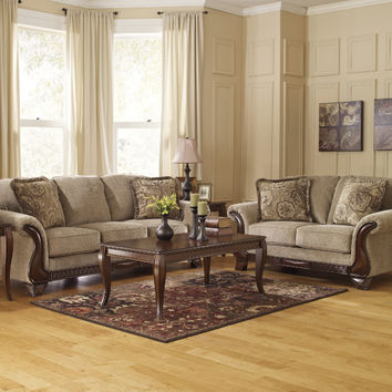 Ashley Furniture 44900-38-35 2 pc Lanett collection barley fabric upholstered sofa and love seat set with rounded arms