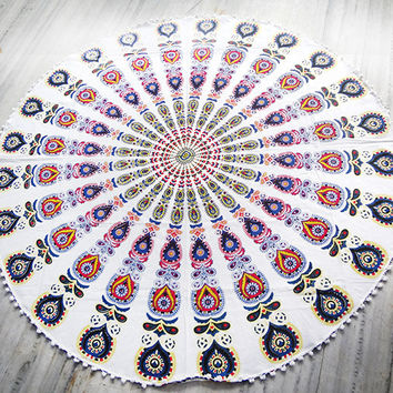 white Mandala Round beach throw, mandala Table cover ,Bed throw ,mandala yoga mat ,round beach towel ,hippie,roundie ,Indian round